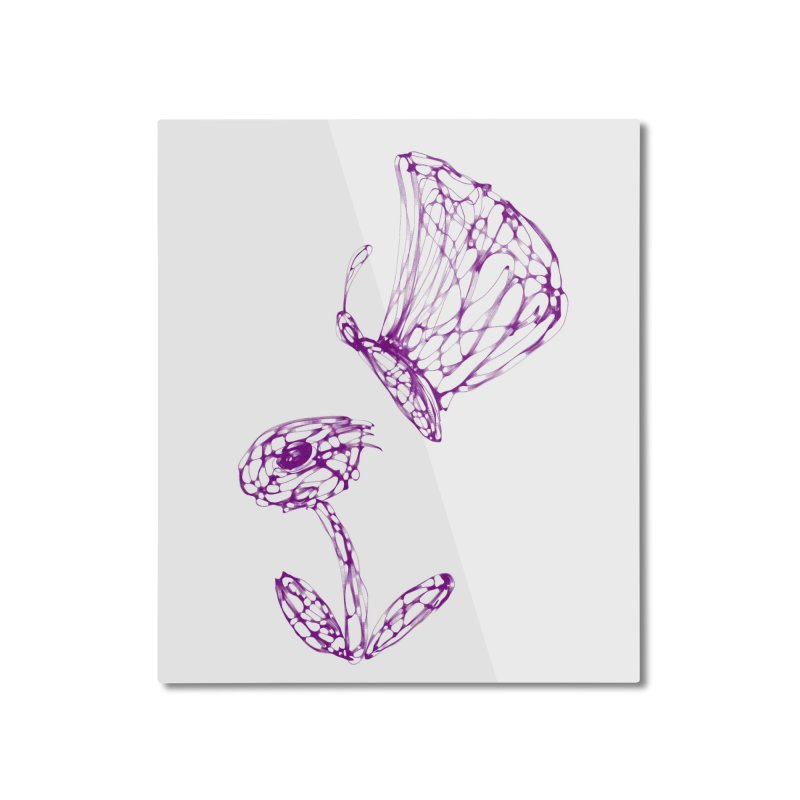 Monochromic Flower with Butterfly Home Mounted Aluminum Print by Magic Pixel's Artist Shop