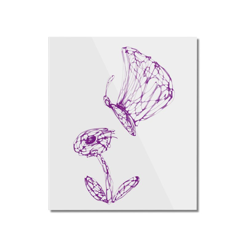 Monochromic Flower with Butterfly Home Mounted Acrylic Print by Magic Pixel's Artist Shop