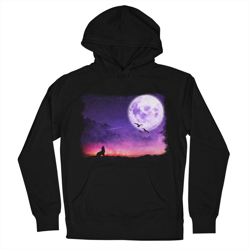 Baying to the Moon Women's French Terry Pullover Hoody by Magic Pixel's Artist Shop