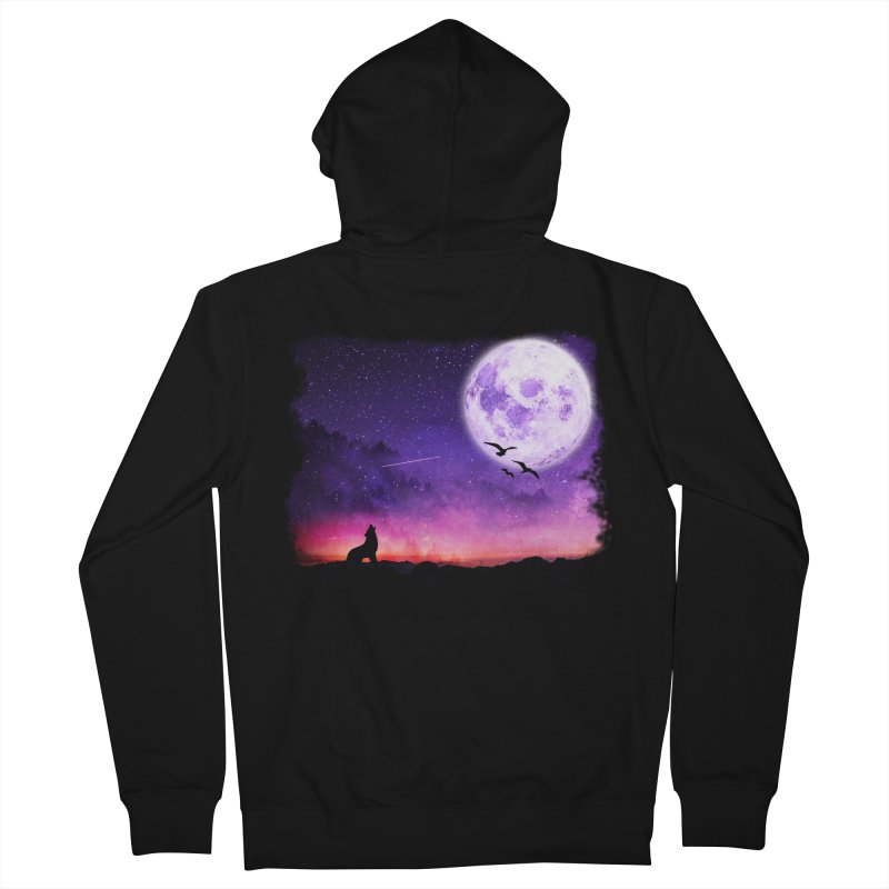 Baying to the Moon Men's French Terry Zip-Up Hoody by Magic Pixel's Artist Shop