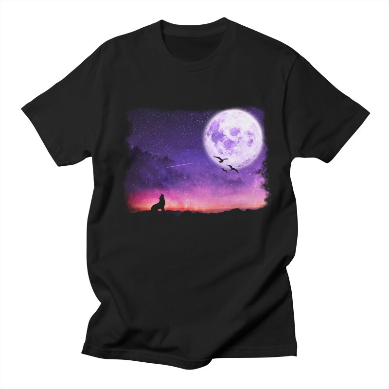 Baying to the Moon Men's Regular T-Shirt by Magic Pixel's Artist Shop