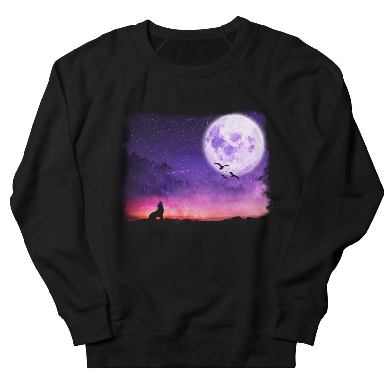 Baying to the Moon Men's French Terry Sweatshirt by Magic Pixel's Artist Shop
