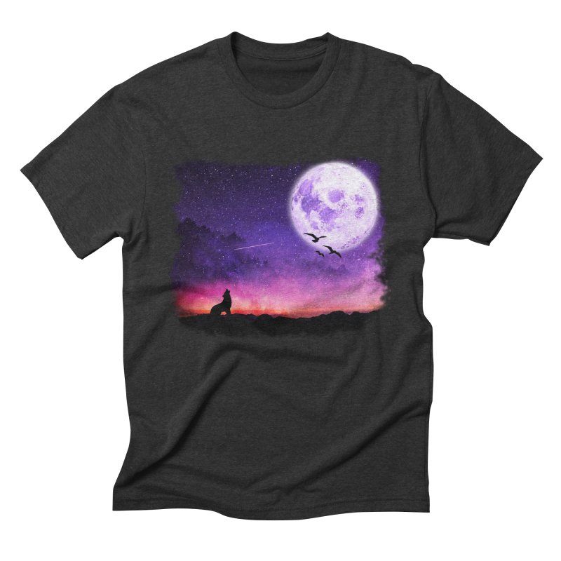 Baying to the Moon Men's Triblend T-Shirt by Magic Pixel's Artist Shop
