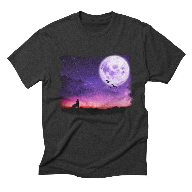 Baying to the Moon Men's T-Shirt by Magic Pixel's Artist Shop