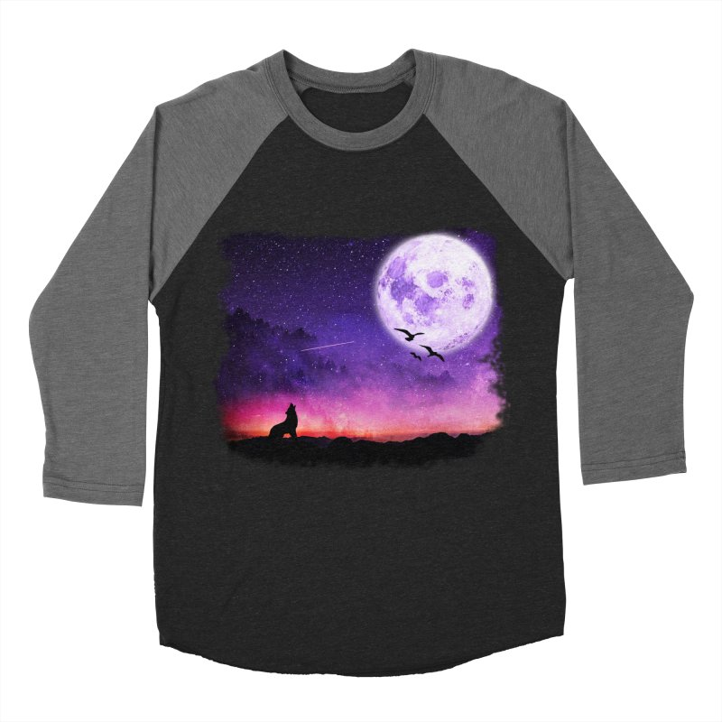 Baying to the Moon Men's Baseball Triblend Longsleeve T-Shirt by Magic Pixel's Artist Shop