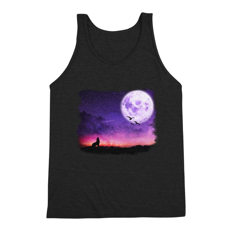 Baying to the Moon Men's Triblend Tank by Magic Pixel's Artist Shop