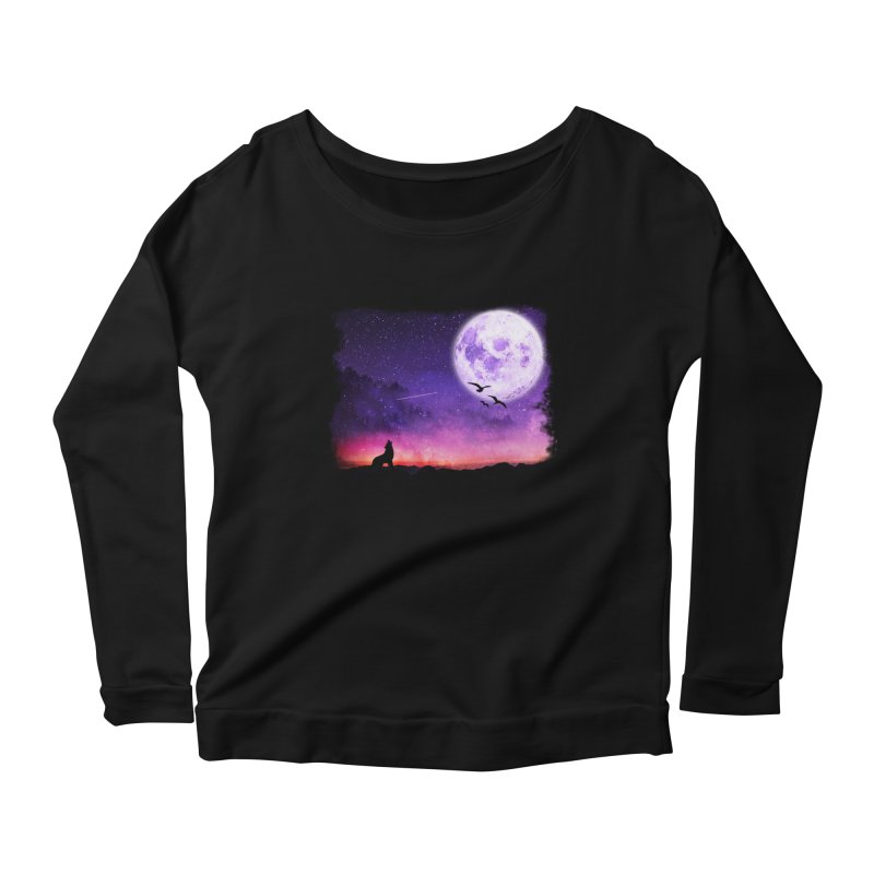 Baying to the Moon Women's Scoop Neck Longsleeve T-Shirt by Magic Pixel's Artist Shop