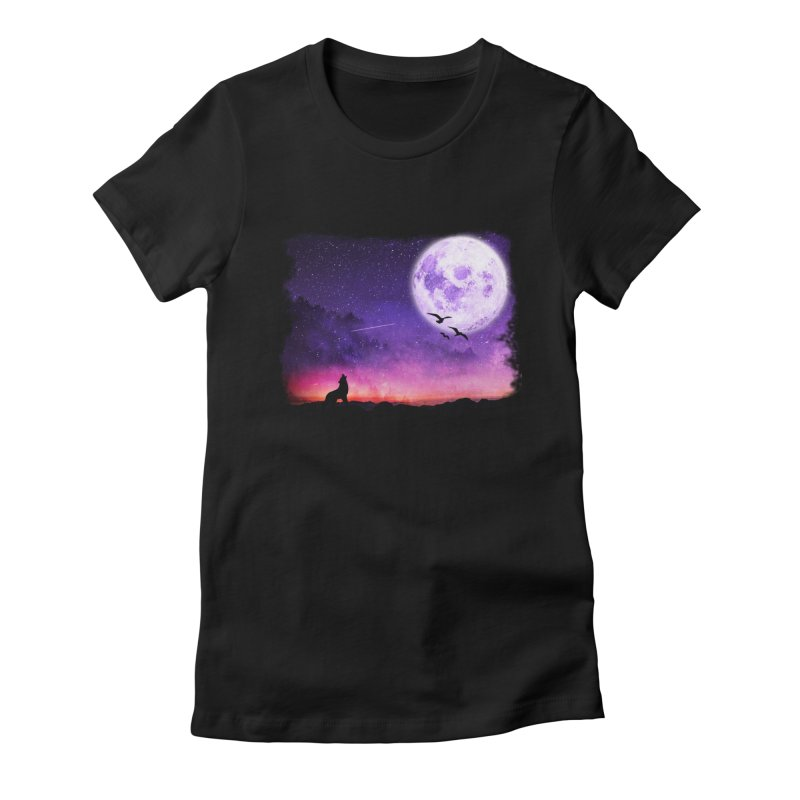 Baying to the Moon Women's Fitted T-Shirt by Magic Pixel's Artist Shop
