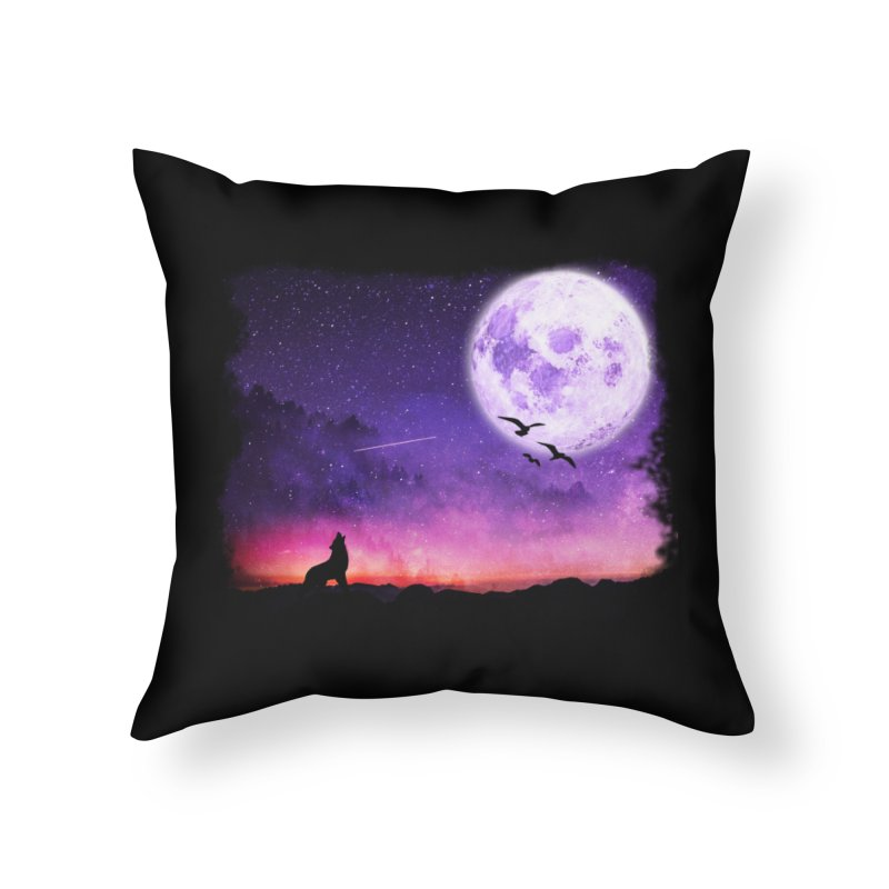 Baying to the Moon Home Throw Pillow by Magic Pixel's Artist Shop