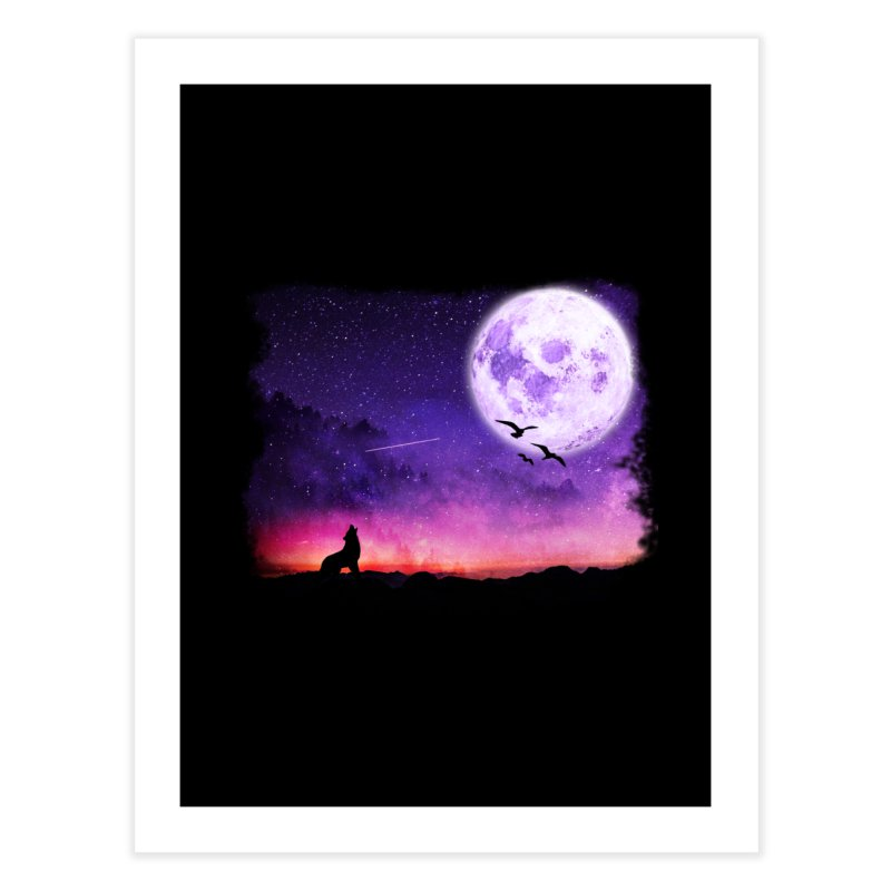 Baying to the Moon Home Fine Art Print by Magic Pixel's Artist Shop