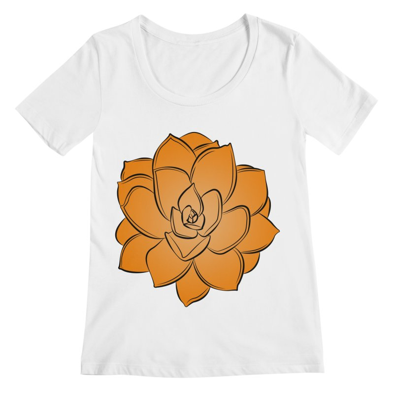 Bright Cactus Rose Women's Regular Scoop Neck by Magic Pixel's Artist Shop