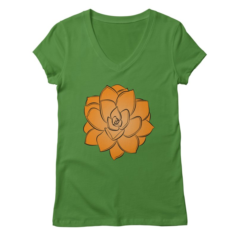 Bright Cactus Rose Women's Regular V-Neck by Magic Pixel's Artist Shop