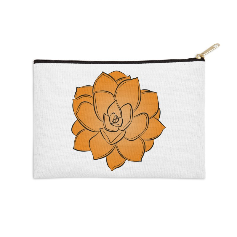 Bright Cactus Rose Accessories Zip Pouch by Magic Pixel's Artist Shop