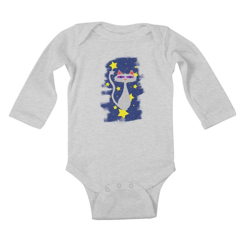 Princess Meera in the night sky Kids Baby Longsleeve Bodysuit by Magic Pixel's Artist Shop