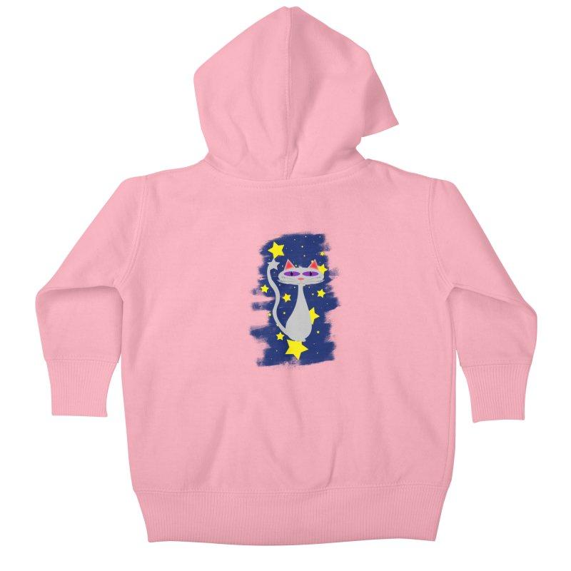 Princess Meera in the night sky Kids Baby Zip-Up Hoody by Magic Pixel's Artist Shop