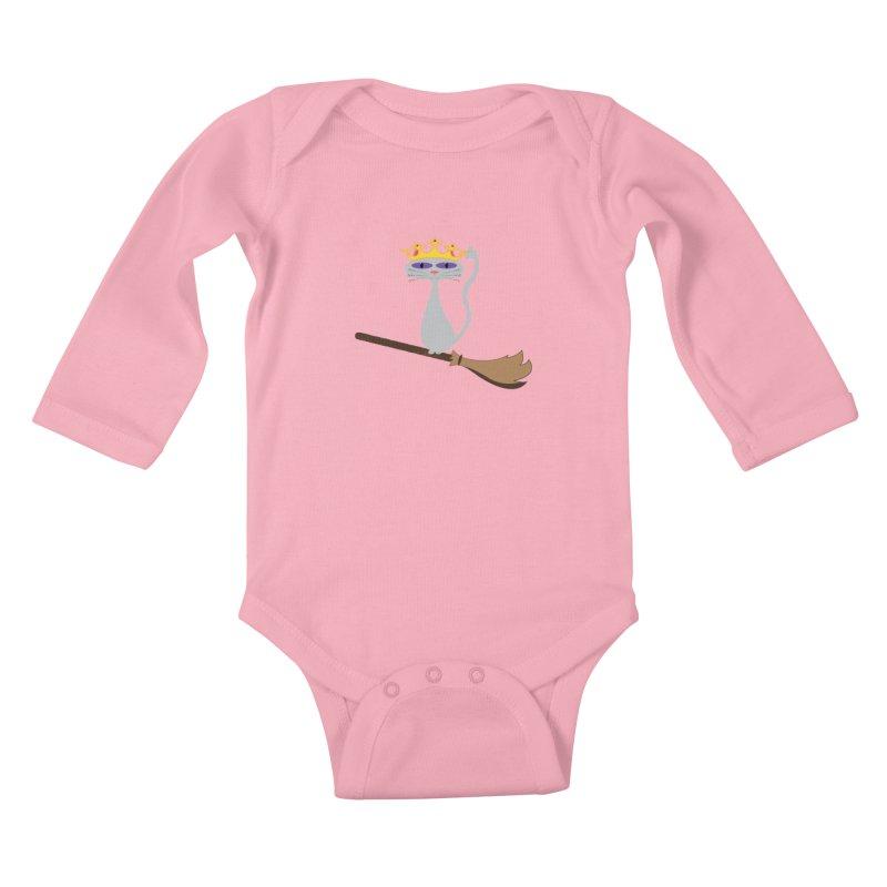 Princess Meera on a Broomstick Kids Baby Longsleeve Bodysuit by Magic Pixel's Artist Shop