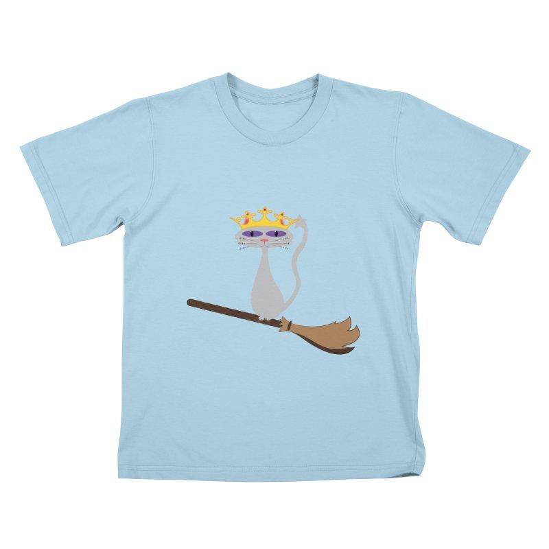 Princess Meera on a Broomstick Kids T-Shirt by Magic Pixel's Artist Shop