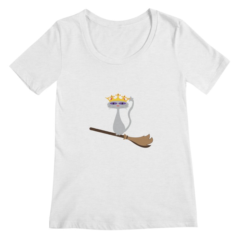 Princess Meera on a Broomstick Women's Regular Scoop Neck by Magic Pixel's Artist Shop