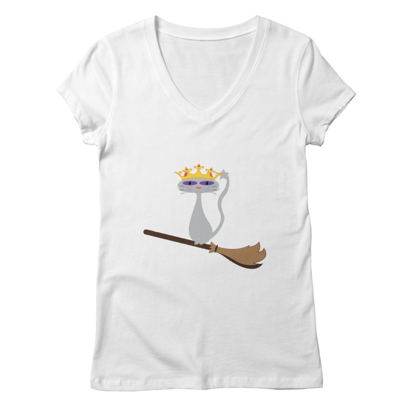 Princess Meera on a Broomstick Women's Regular V-Neck by Magic Pixel's Artist Shop