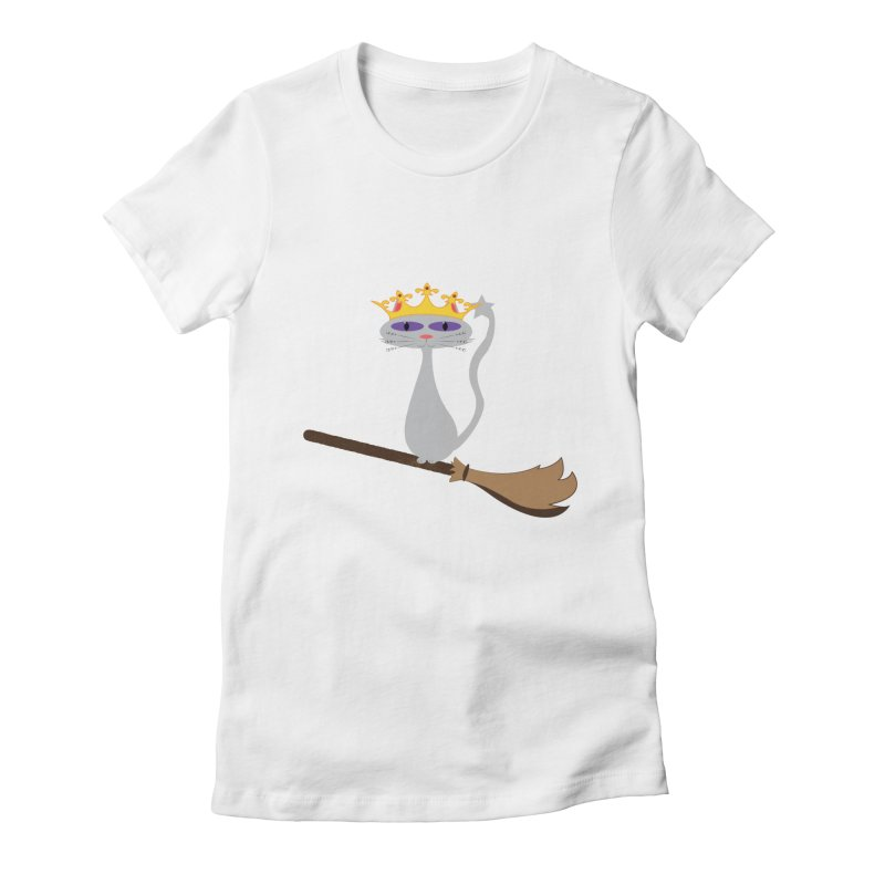 Princess Meera on a Broomstick Women's Fitted T-Shirt by Magic Pixel's Artist Shop