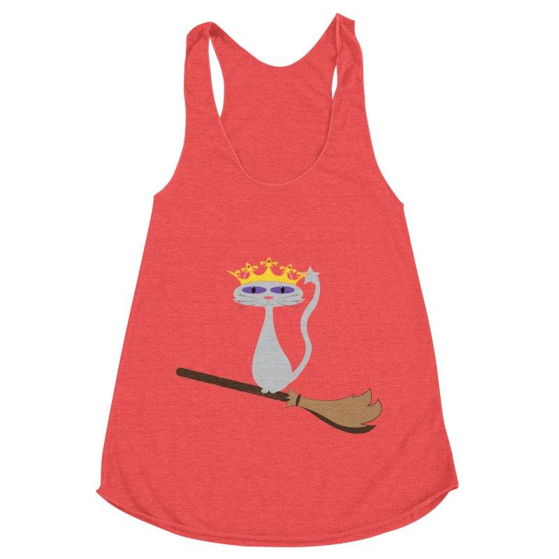 Princess Meera on a Broomstick Women's Racerback Triblend Tank by Magic Pixel's Artist Shop