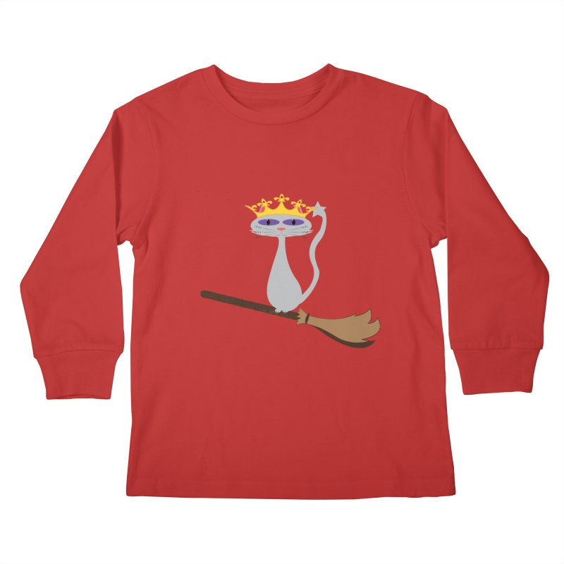 Princess Meera on a Broomstick Kids Longsleeve T-Shirt by Magic Pixel's Artist Shop