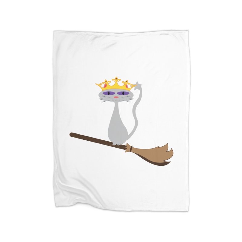 Princess Meera on a Broomstick Home Fleece Blanket Blanket by Magic Pixel's Artist Shop