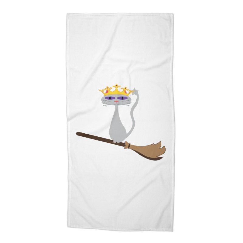 Princess Meera on a Broomstick Accessories Beach Towel by Magic Pixel's Artist Shop