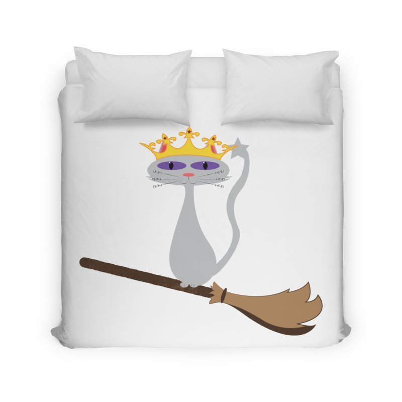 Princess Meera on a Broomstick Home Duvet by Magic Pixel's Artist Shop