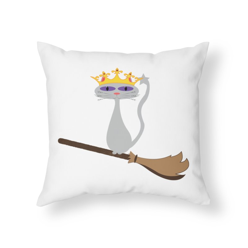 Princess Meera on a Broomstick Home Throw Pillow by Magic Pixel's Artist Shop