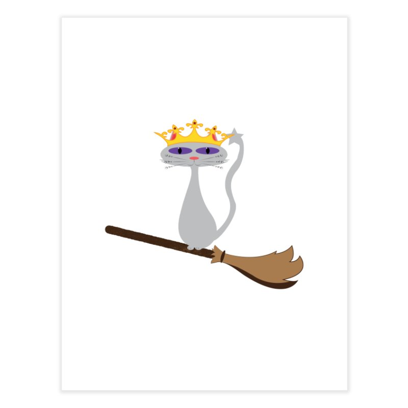 Princess Meera on a Broomstick Home Fine Art Print by Magic Pixel's Artist Shop
