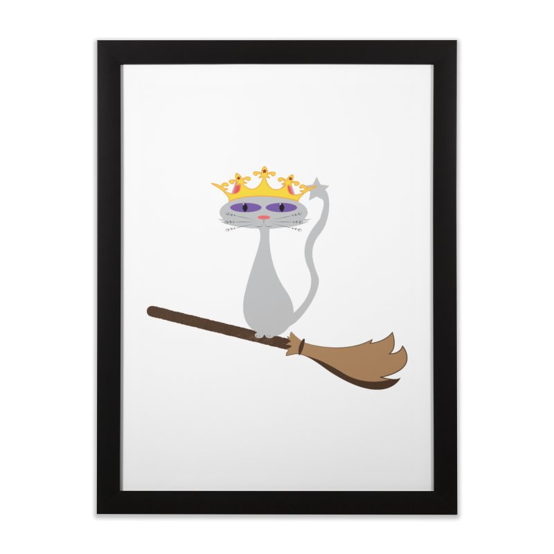 Princess Meera on a Broomstick Home Framed Fine Art Print by Magic Pixel's Artist Shop