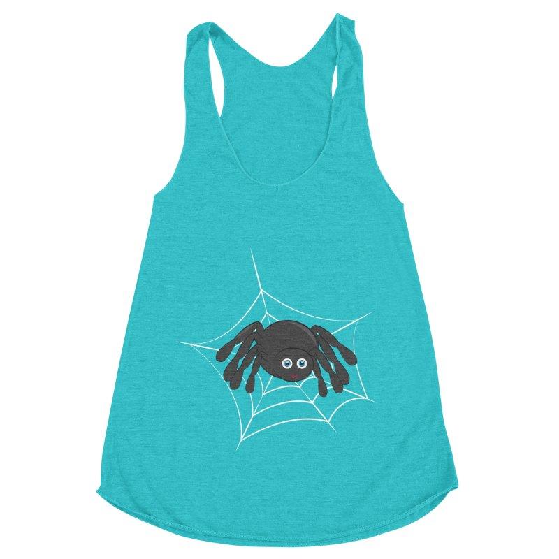 Halloween Spider Women's Racerback Triblend Tank by Magic Pixel's Artist Shop