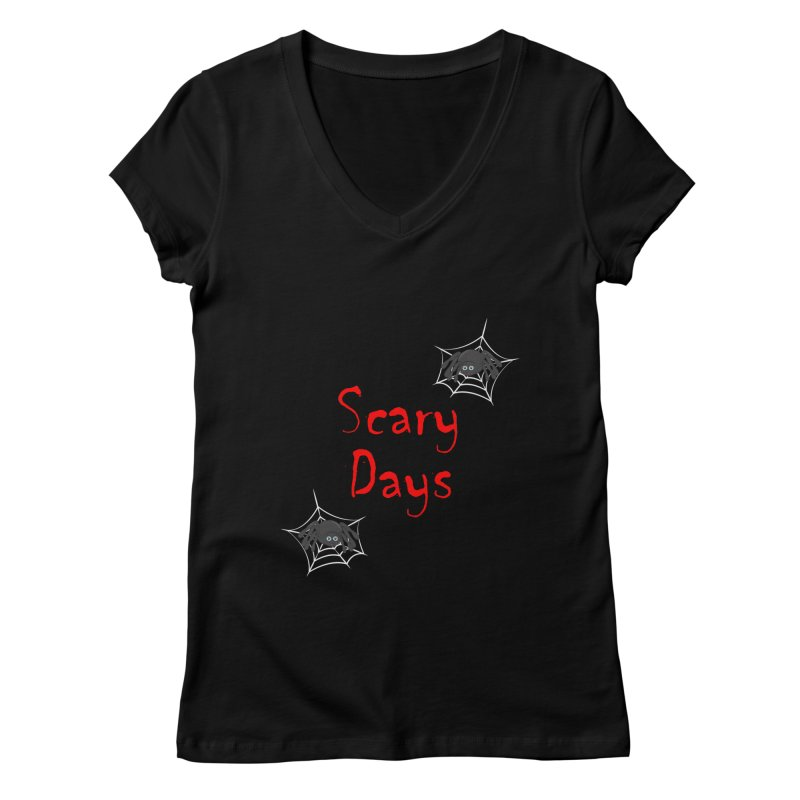 Scary Days Women's Regular V-Neck by Magic Pixel's Artist Shop