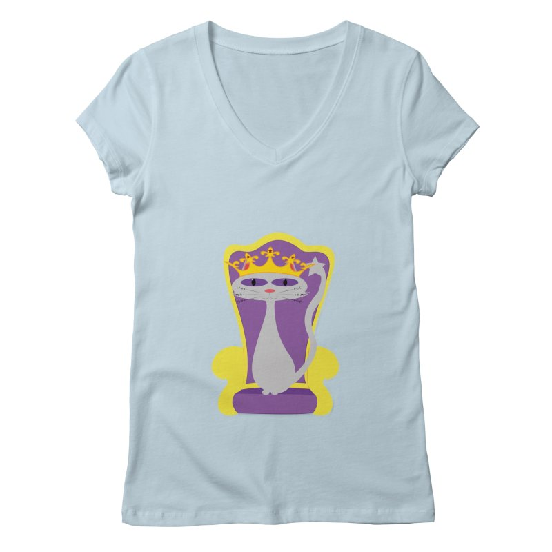 Princess Meera on her Throne Women's Regular V-Neck by Magic Pixel's Artist Shop