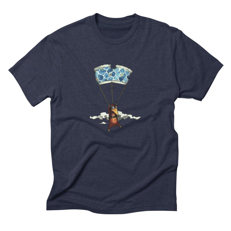 Skydiving mole Men's Triblend T-Shirt by Magnus Blomster