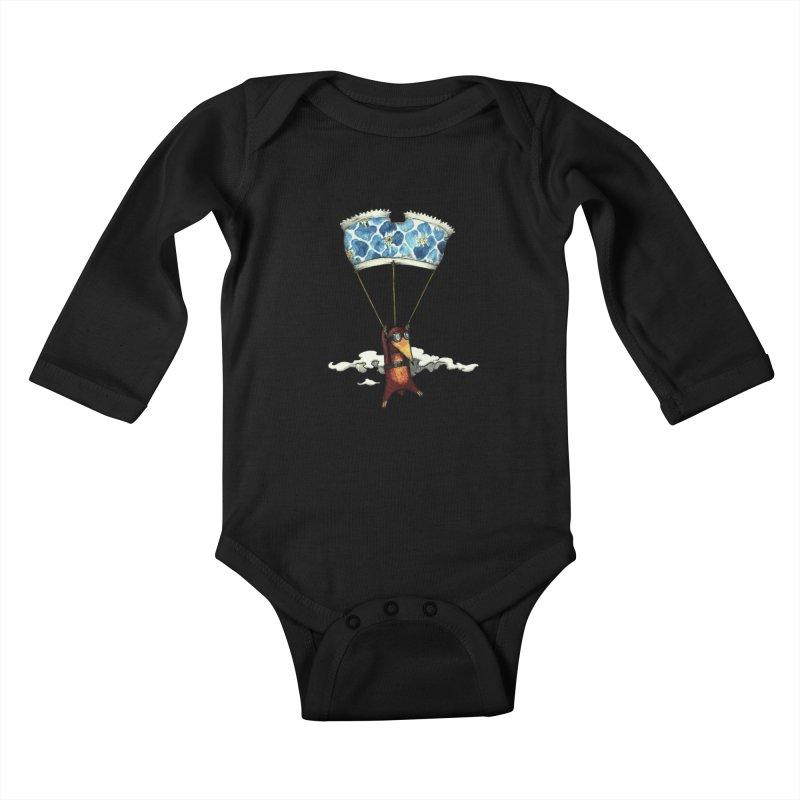 Skydiving mole Kids Baby Longsleeve Bodysuit by Magnus Blomster