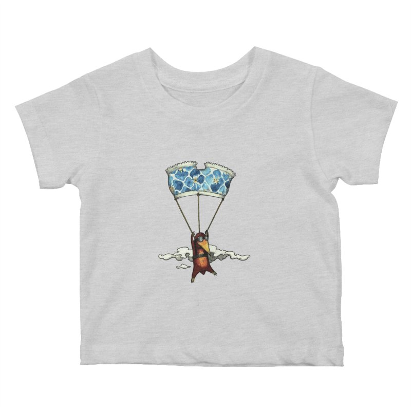 Skydiving mole Kids Baby T-Shirt by Magnus Blomster