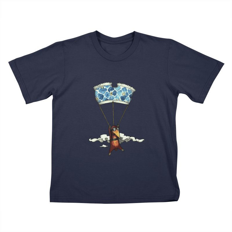 Skydiving mole Kids T-Shirt by Magnus Blomster