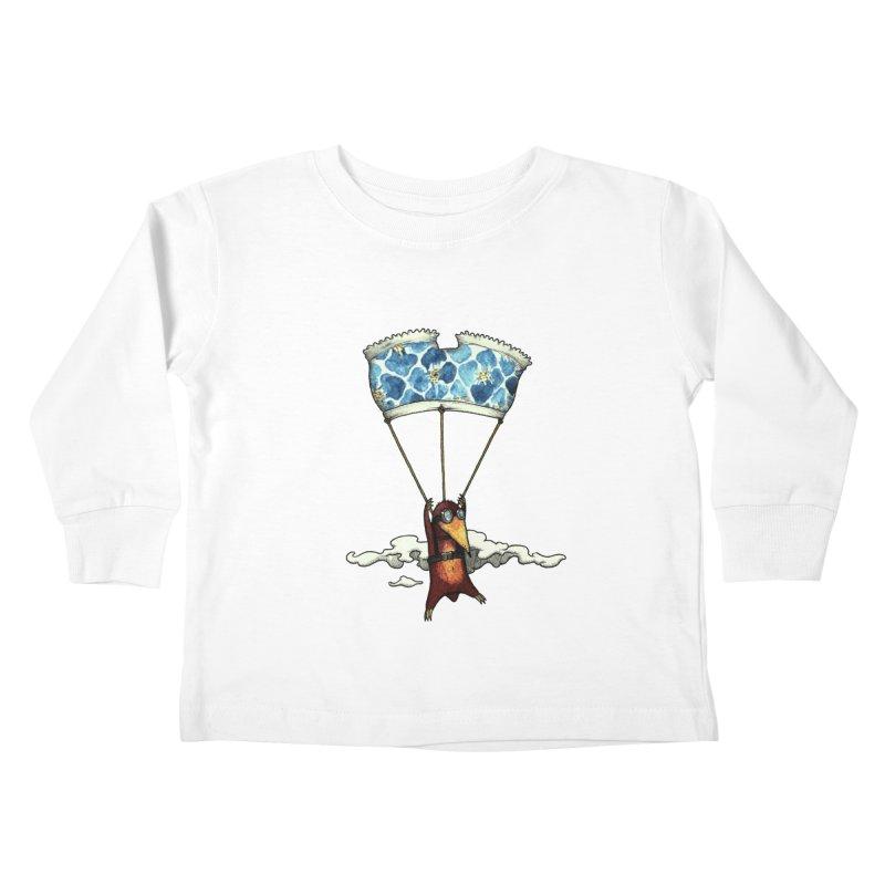 Skydiving mole Kids Toddler Longsleeve T-Shirt by Magnus Blomster