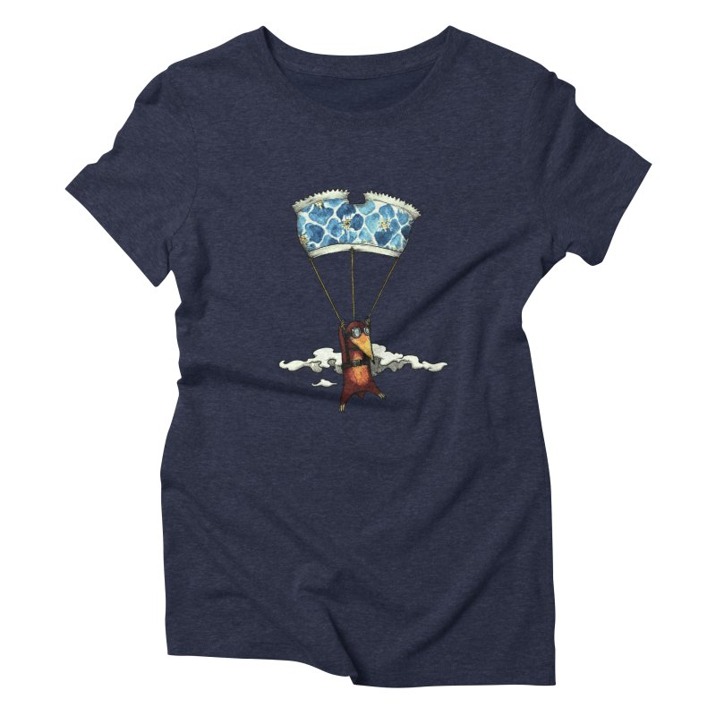 Skydiving mole Women's Triblend T-Shirt by Magnus Blomster