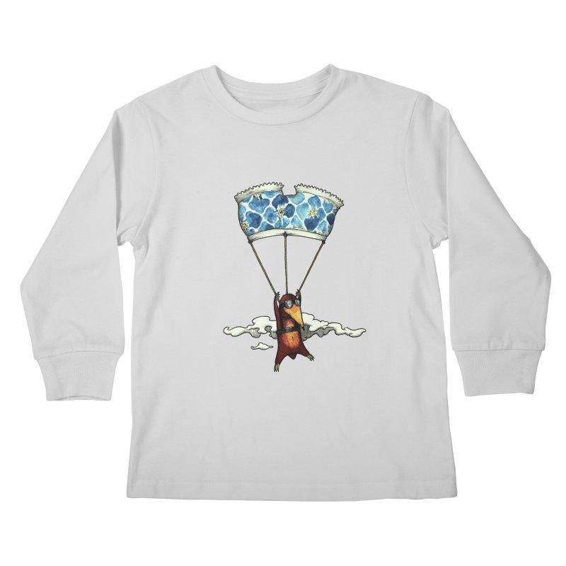 Skydiving mole Kids Longsleeve T-Shirt by Magnus Blomster