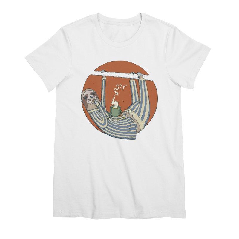 Sloth having breakfast Women's Premium T-Shirt by Magnus Blomster