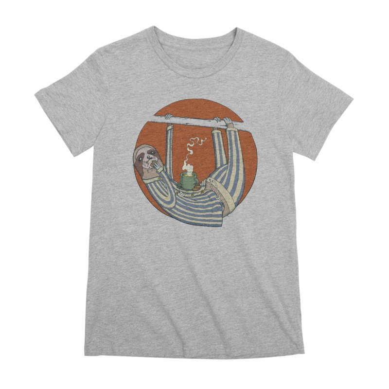 Sloth having breakfast Women's Premium T-Shirt by Magnus Blomster