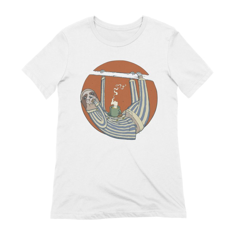 Sloth having breakfast Women's Extra Soft T-Shirt by Magnus Blomster