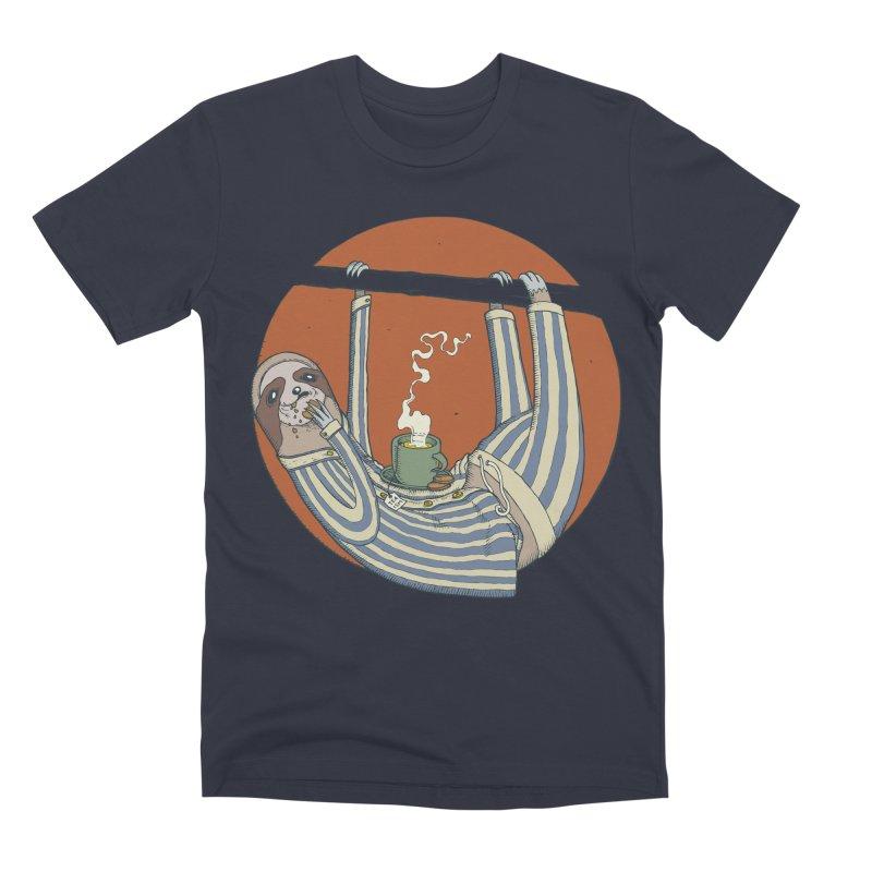 Sloth having breakfast Men's Premium T-Shirt by Magnus Blomster
