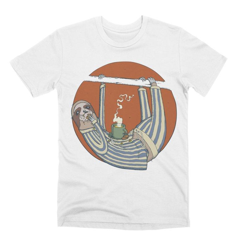 Sloth having breakfast Men's T-Shirt by Magnus Blomster