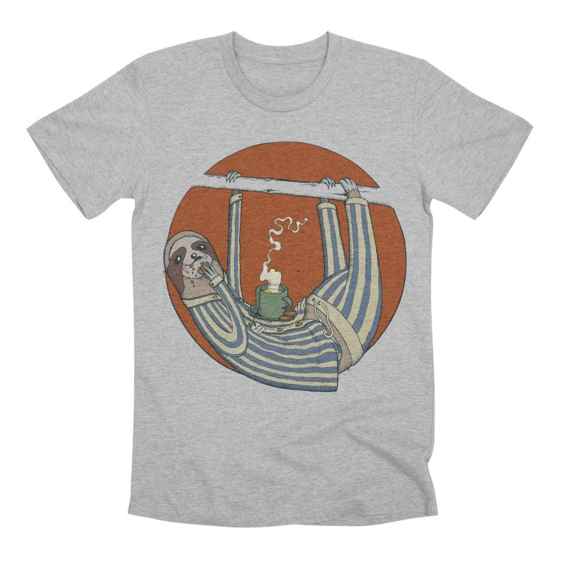 Sloth having breakfast Men's Premium T-Shirt by Magnus Blomster