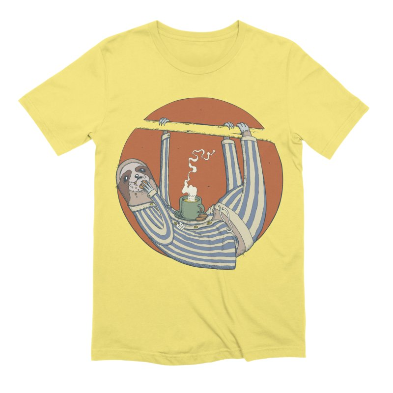 Sloth having breakfast Men's Extra Soft T-Shirt by Magnus Blomster