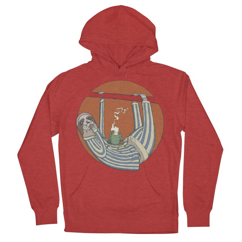 Sloth having breakfast Men's French Terry Pullover Hoody by Magnus Blomster
